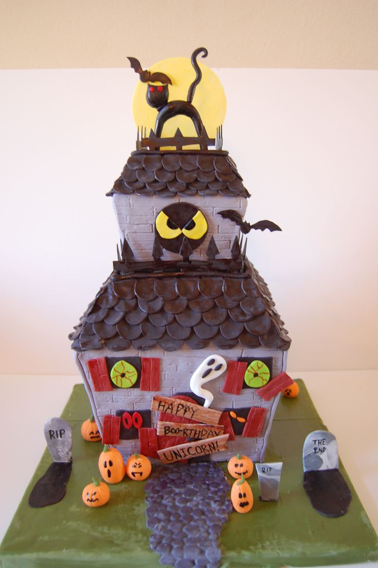 Haunted House cake.  For a Halloween birthday. Creepy eyes. Black cat. full moon. Bats.  All edible. Spooky!