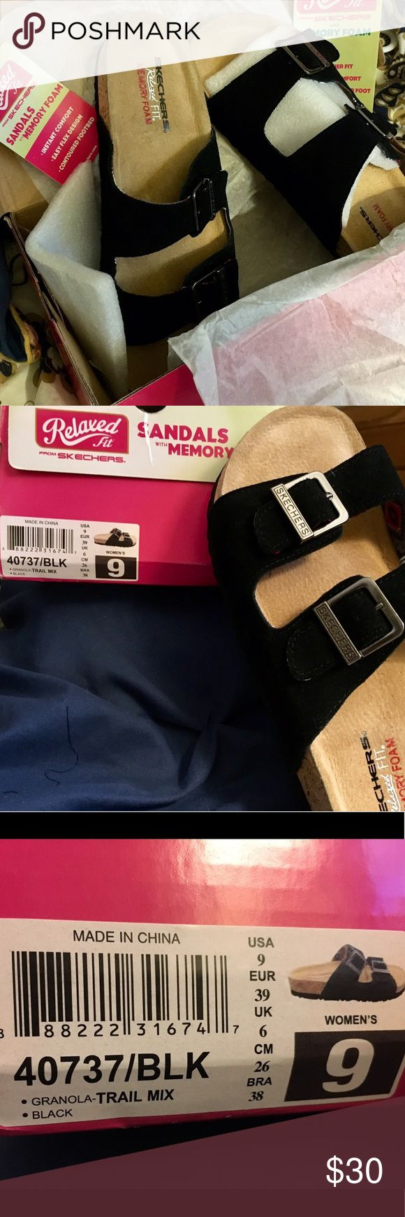 "Ladies' Size 9 Black Suede Slide Sandals! 🌲⛰🏕🌲Skechers ""Granola - Trail Mix"" Black Leather Memory Foam Sandals ~ Ladies' Size 9 ~ New in Box ~ Soft suede slide sandals combine classic style with modern memory foam ~ Featuring casual straps, adjustable metal buckles, and cushioned comfort insoles ~ Now, go take a hike! When your feet meet this foam, you won't need to go home!🌲⛰🏕🌲 Skechers Shoes Sandals"