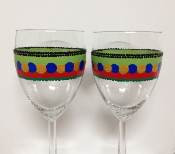 WINE GLASSES gift idea hand painted unique wine by Turtlesandpeace