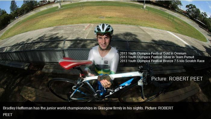 Bradley Heffernan and all his medals from the 2013 Youth Olympics Festival with his CELL Bikes Victor!
