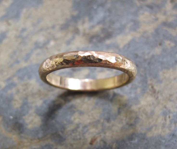Mens Hammered D Section Gold Wedding Ring