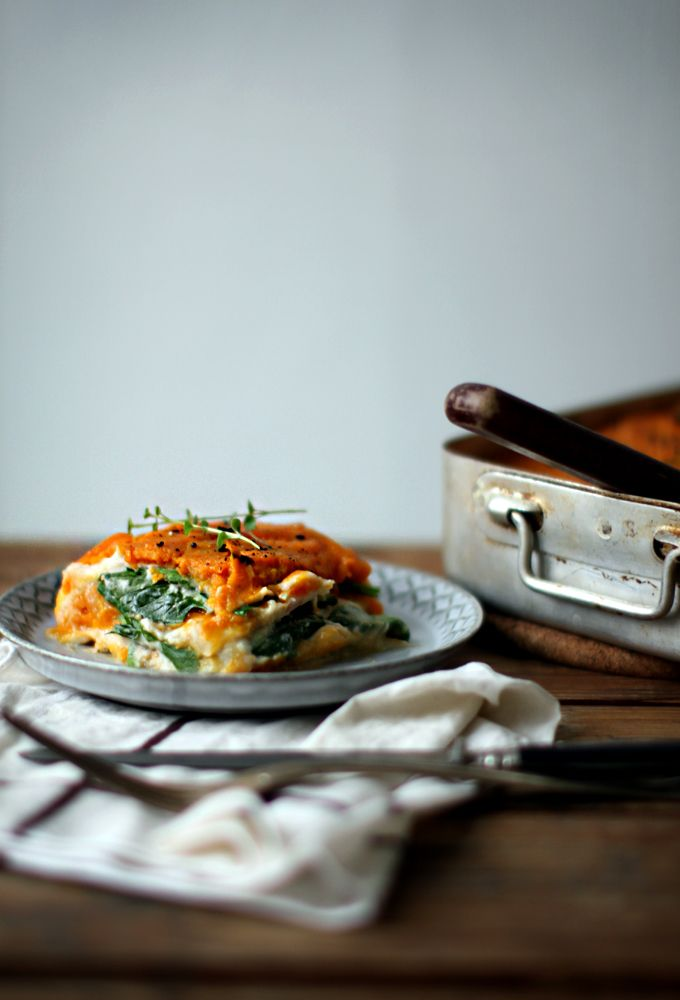 "Butternut Squash Lasagna with bean ""bechamel"" and celeriac ""noodles""."