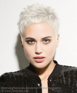Very short pixie for platinum blonde hair. Cute short haircut for fashion minded…