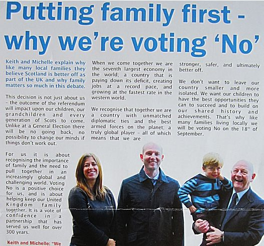Scotland's only Tory MP David Mundell handing out dodgy leaflets for the 'No' vote campaign.