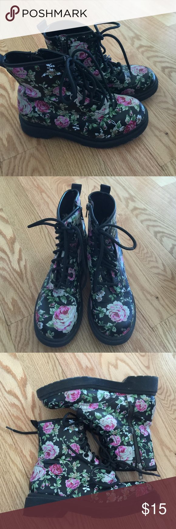 Floral Boots Good Used Condition. Doc Maarten style, these are NOT Doc Maartens though! Black with pink floral design. Any questions, please ask! Mossimo Supply Co Shoes Combat & Moto Boots