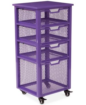 Atwell 4-Drawer Rolling Storage Cabinet, Quick Ship - Purple
