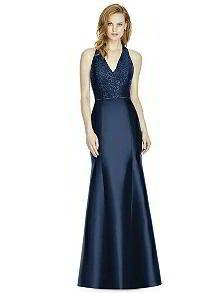 Studio Design Collection 4514 Full Length Halter V-Neck Bridesmaid Dress http://www.dessy.com/dresses/bridesmaid/studio-design-style-4514/