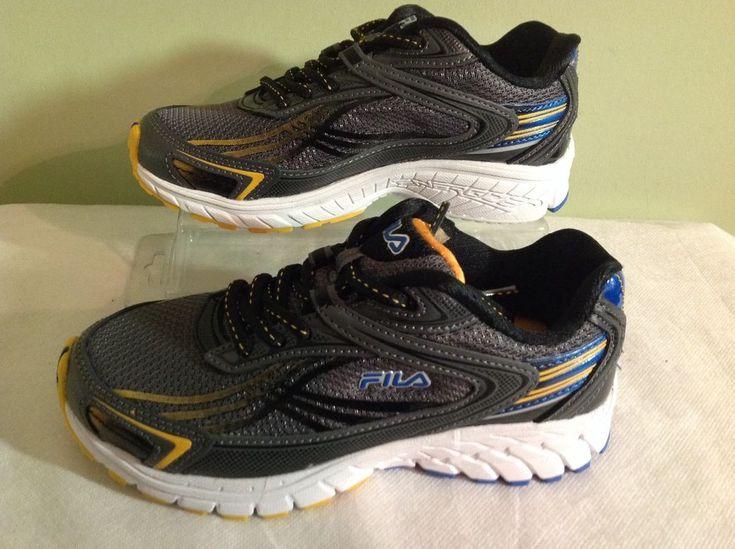 New Fila Boy's Nitro Fuel 2~ Black/Gray/Yellow Athletic Running Shoes US Sz 2 #Fila #Athletic