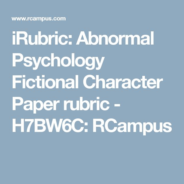 psychology research paper rubric The organization, elements of research report/paper writing, grammar, usage, mechanics, and spelling of a written piece are scored in this rubric.