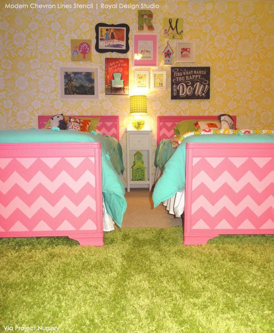 Modern Chevron Wall Stencil on Kids Beds - Bright, Bold, Colorful Girls Bedroom Decor with wall stencils