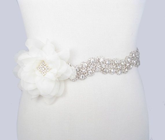 Flower Wedding Dress Sash, Crystal Rhinestone Bridal Belt, Silver with Clear Rhinestones, Jeweled Beaded Sash, 35 Satin Ribbon Color Choices on Etsy, $165.00