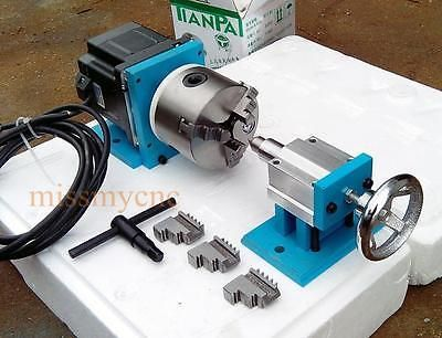 CNC Router Rotational Rotary Axis A 4th-axis,3-Jaw tailstock NEMA34(Steel frame)