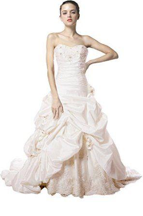 WitBuy Taffeta Wedding Dress with Pick-Up Skirt, Beaded Lace  WitBuy