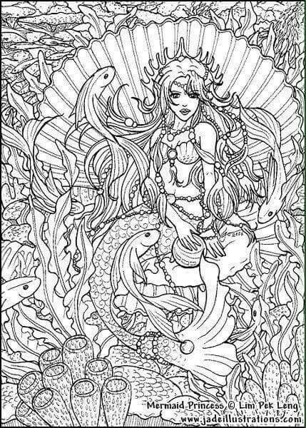 25 best Mermaid Adult Coloring Pages for Adults images on ...