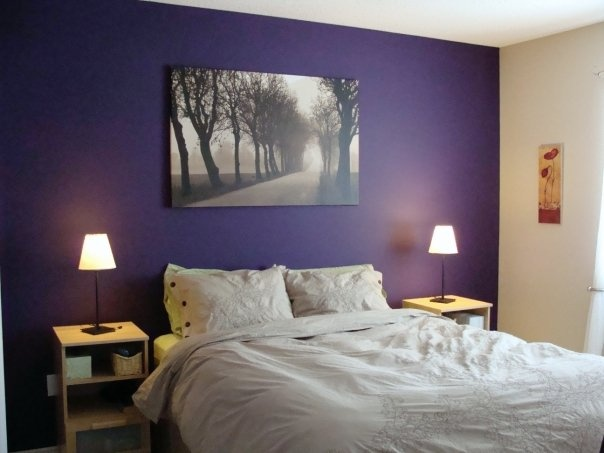 Purple And Beige Walls Needs A Better Beige And Better Bedding