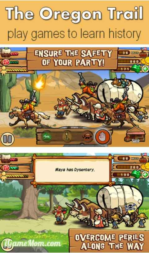 The Oregon Trail - Great History Simulation Game, available on iPhone, iPod, iPad, Android devices and on computers. Kids play games to learn history.