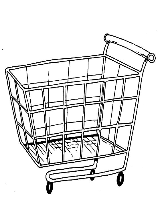 Basket For Shopping In The Mall Are Coloring PagesGrocery Cart Coloring Page