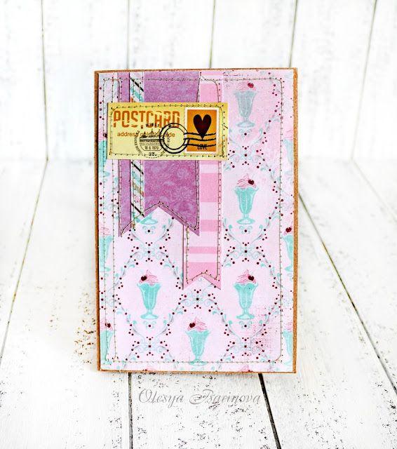 Мятный блокнот и открытка