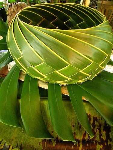 Lauhala (leaf) bowl.  Leaves from the Hala tree (Pandanus tectorius).