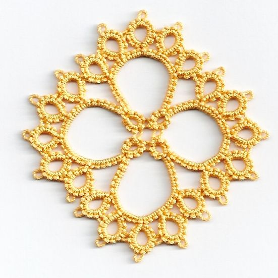 square motif in yellow tatted lace