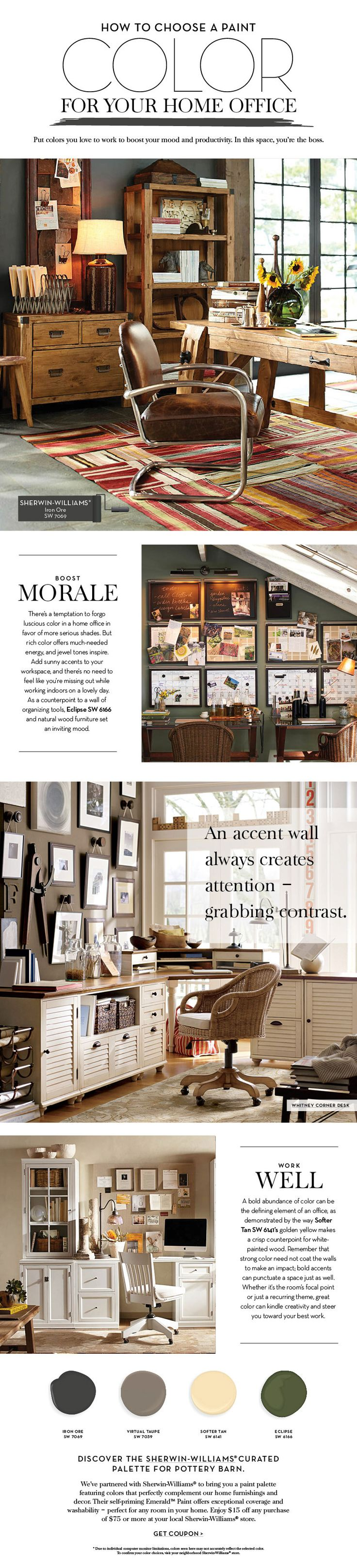Choose a Paint Color For Your Home Office   Pottery Barn