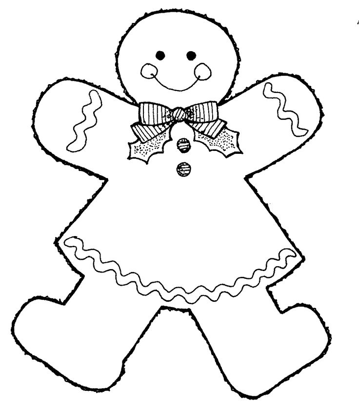 Gingerbread Man Coloring Page This Black And White Image Girl Was Donated