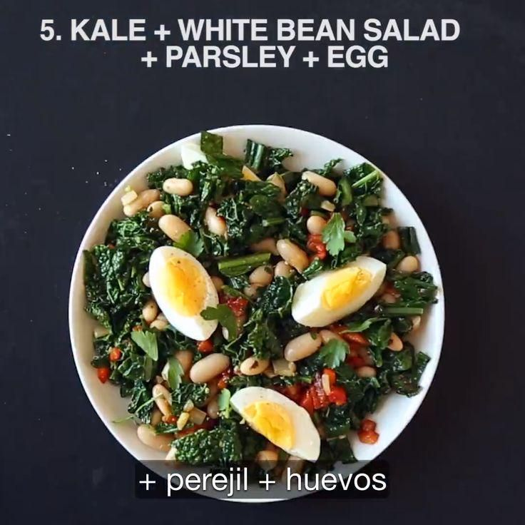Bean Salad, White Beans, Parsley, Kale, Eggs, Snacks, Ethnic Recipes, Food, Salads