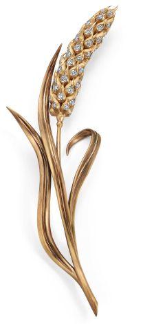 Broche Épi de Blé Or satiné, Or brossé, Diamants © Chaumet