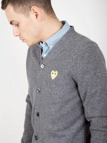 Comme Des Garçons Play - Play Cardigan Gold Heart Grey - Antic Boutik