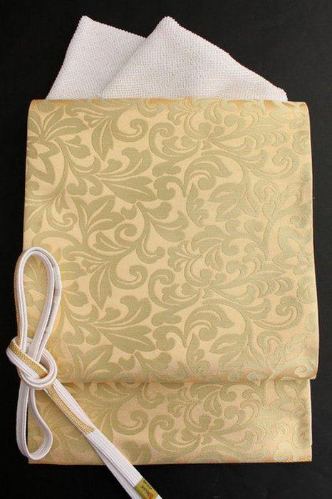 【河合美術織物】特選西陣袋帯「金彩唐花文」金地正絹袋帯