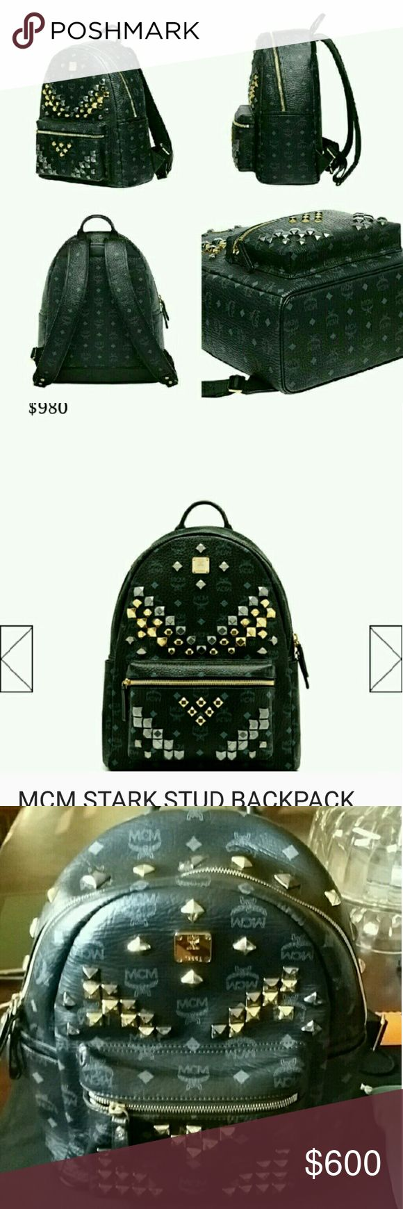 MCM STARK M STUDDED BACK PACK Preloved like new condition 100% Authentic Unisex Price is firm  No holds no trades no lowest  BUY WITH CONFIDENCE POSH WILL CHECK AUTHENTICITY BEFORE IT IS DELIVERED TO YOU:-) IF YOU DO NOT HAVE RATINGS DO NOT PURCHASE I WILL CANCEL ORDER !! Stark Backpack in Visetos coated canvas with leather trim Color: Black Single top handle Adjustable shoulder straps Mixed stud embellishment Zip-around closure Front zip 2 side flat pockets 2 interior pockets with padded…