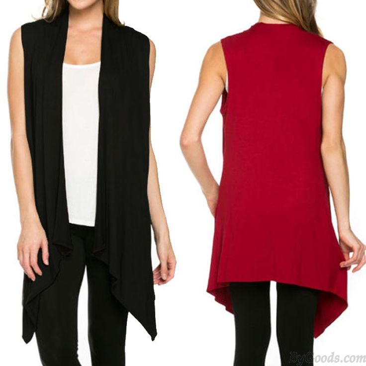 Sleeveless Solid Knit Vest Asymmetrical Hem Cardigan Leisure Female Top only $18.99 in ByGoods.com!