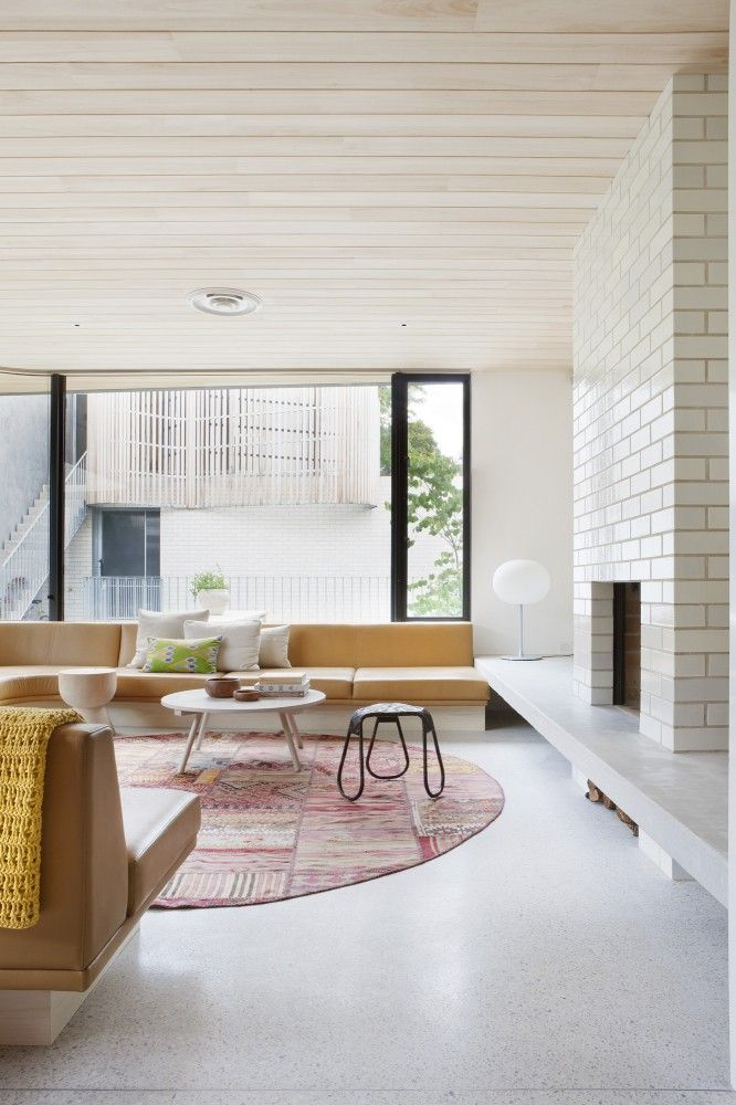 Brick House / Clare Cousins Architects.  fireplace and wall shelf, plus lovely ceilings.