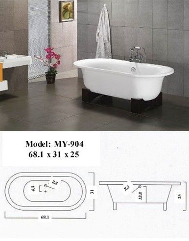 Hakone Asian Inspired Free Standing Bathtub & Faucet. FREE SHIPPING - Bathtubs Factory Direct