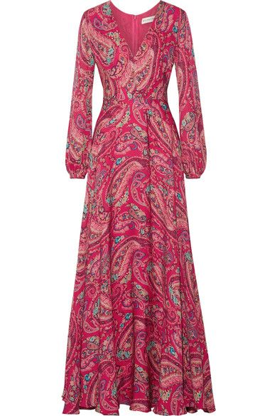 Etro's Exquisite Crepe de Chine Gown, printed in a Tonal Pink Paisley with touches of Blues, Greens & Yellows. It has a Fitted Bodice with a deep V-Neckline and voluminous Balloon Sleeves. The Skirt has a full, A-Line Silhouette that sweeps the floor. I'm cinching the Waist with a Pink Satin Obi Belt. I've got matching Carved Rubellite Earrings & Pendant and a Rubellite Ring. Finish with Silver Mules & Box Clutch (It's all on this board). Give it a chance and it will give you grace…