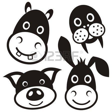 Leuke zwarte cartoon varken ezel nijlpaard walrus gezichten