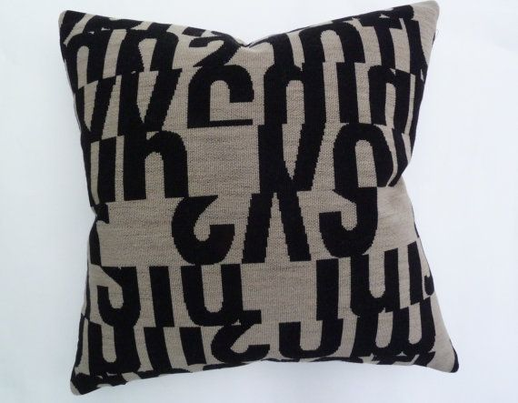 "Gunnar Aagaard Andersen ""Letters"" in taupe -  Mid-Century modern design accent Pillow -  17"" X 17"""