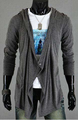 Asymmetric One Button Single-Breasted Solid Color Hooded Long Sleeves Men's Cardigan Men's Sweaters | RoseGal.com Mobile