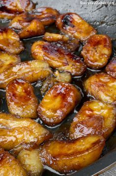 One banana, two bananas, three bananas foster! These gooey, caramelized bananas taste great on ice cream, crepes, waffles, pancakes and beyond!