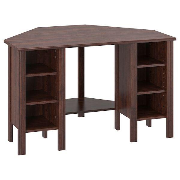 Brusali Corner Desk Brown 47 1 4x28 3 4 Ikea In 2020 Corner Desk Corner Workstation Ikea White Desk