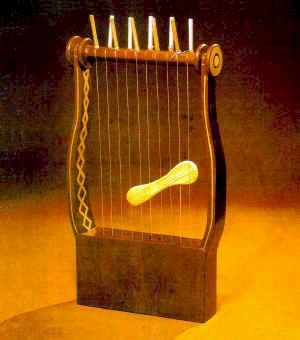 Psalteron (harp). Made of wood with ten strings. Heighth 90 cm. Gaza 6th century BCE.