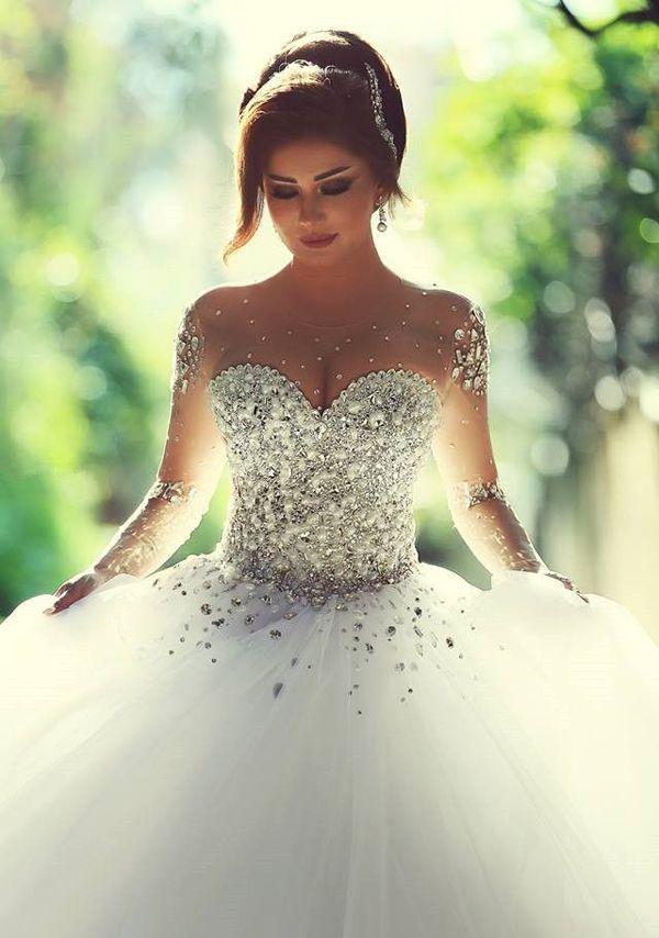 23 Seriously Stunning Wedding Dresses with Crystal Beading | Cinderella's Dream-Come-True!