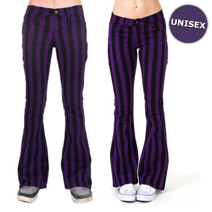 Jist Flare jeans gestreepte unisex broek met wijde pijpen zwart/paars