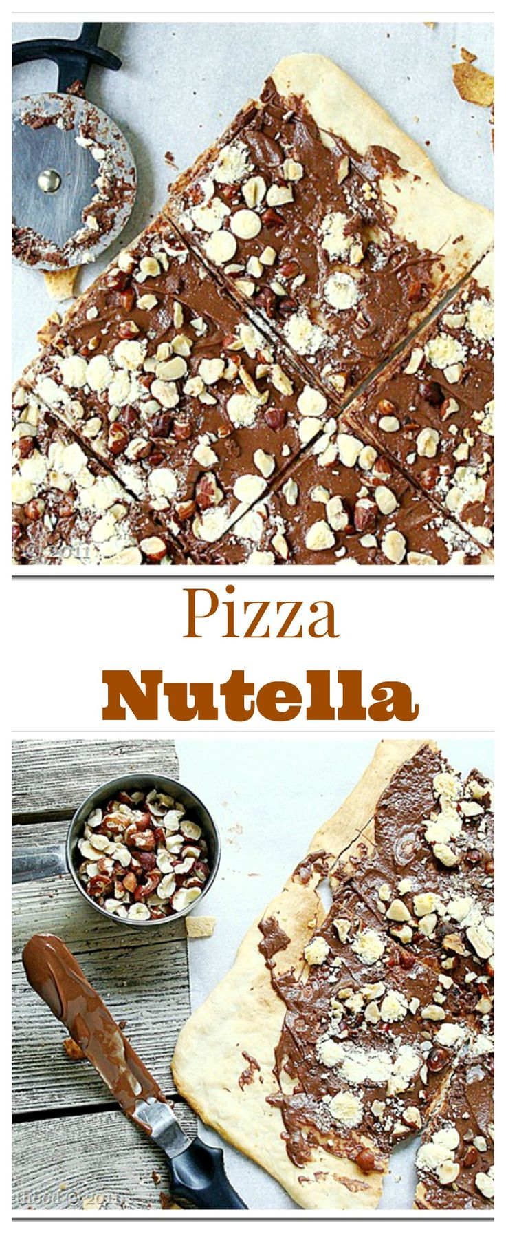 Pizza Nutella | www.diethood.com | Soft and sweet pizza crust topped with Nutella and hazelnuts!!