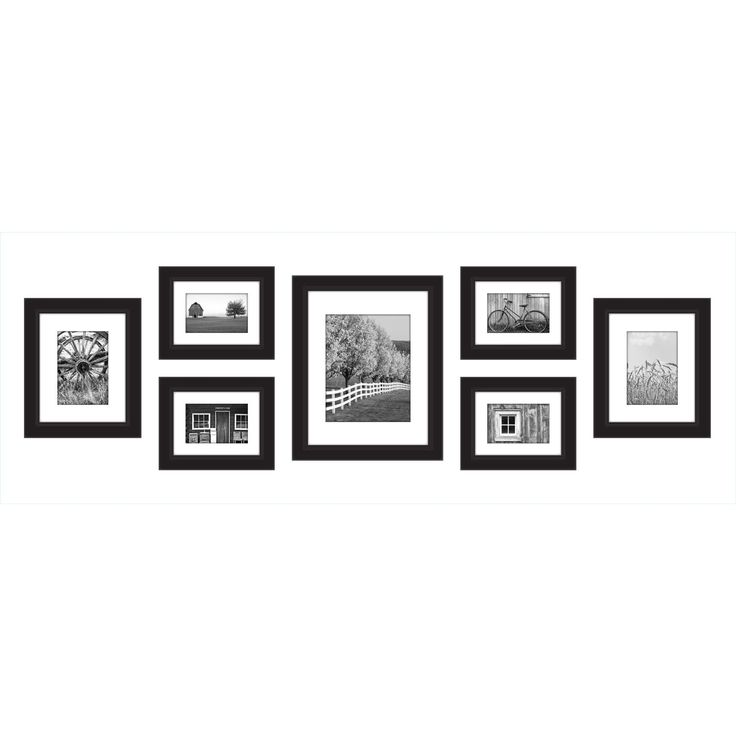 gallery perfect black wood 7 piece gallery wall frame kit black size