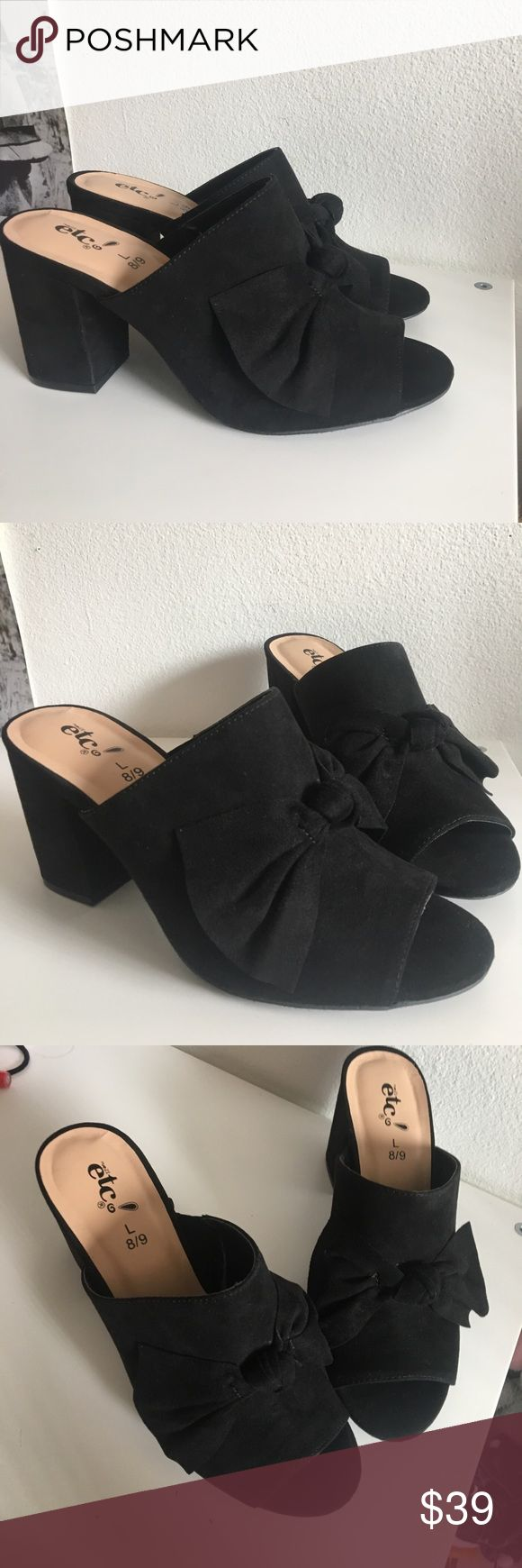 """Suede Bow Open Toed Mule Heels Heel height approx 3.5"""". Brand new! Only tried on. Size 8/9 Large. New with stickers/ no tag. Boutique Shoes Mules & Clogs"""