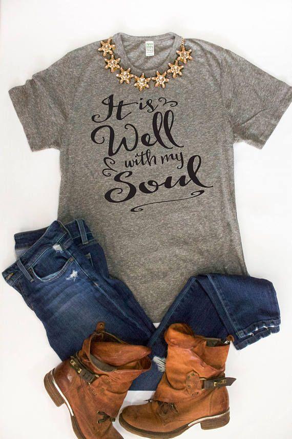 It Is Well With mijn ziel Tshirt / gezegend Shirt / christelijke Shirts / dankbaar Shirts / afbeelding Tees voor haar / leuke Workout Yoga kleren