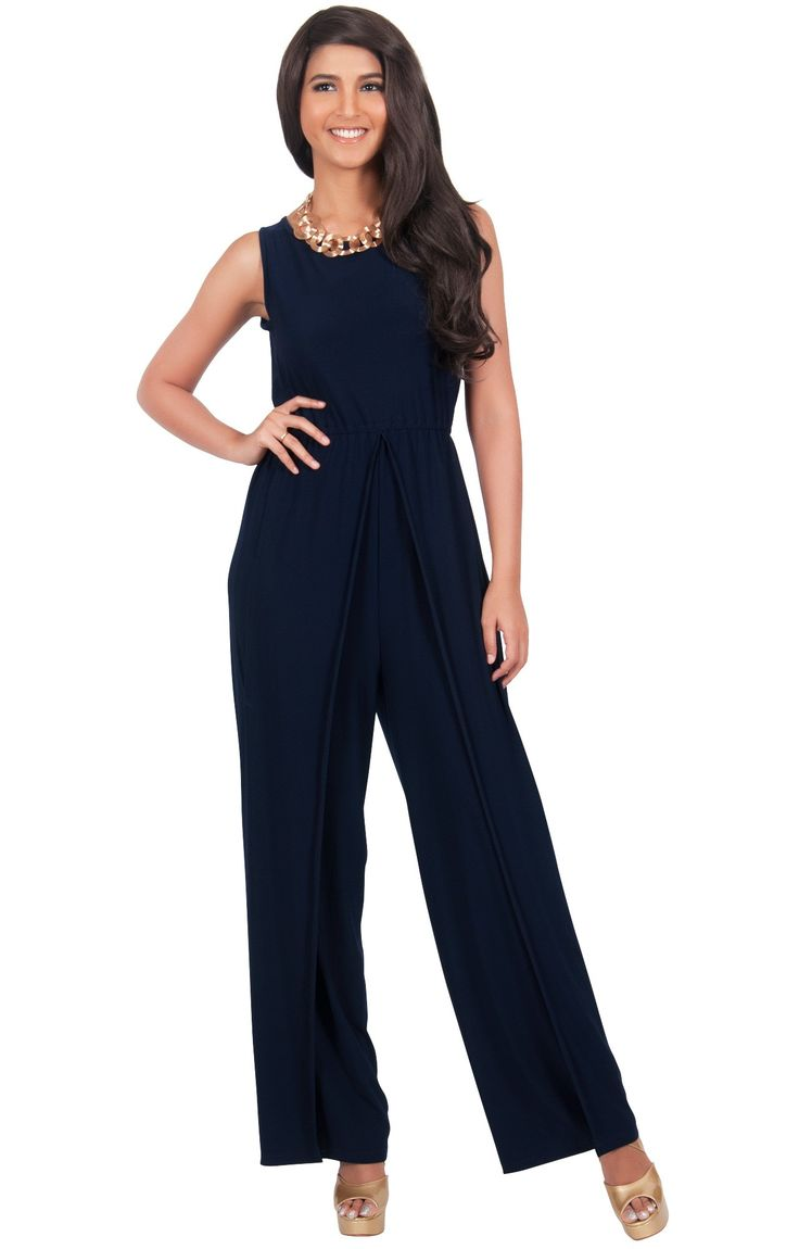 gwen  sleeveless slimming flared pant summer jumpsuit