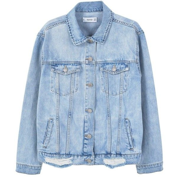MANGO Oversize denim jacket ($80) ❤ liked on Polyvore featuring outerwear, jackets, blue jean jacket, distressed jacket, oversized collar jacket, oversized jean jacket and mango jackets