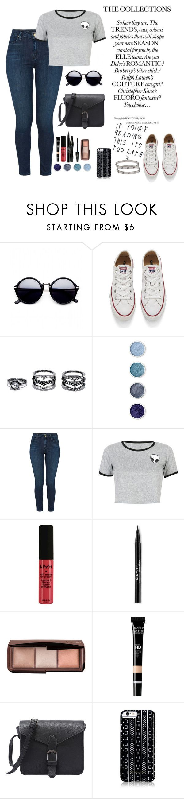 """Untitled #48"" by nanda-olly ❤ liked on Polyvore featuring Converse, LULUS, Terre Mère, J Brand, WithChic, NYX, Lancôme, Trish McEvoy, MAKE UP FOR EVER and Savannah Hayes"